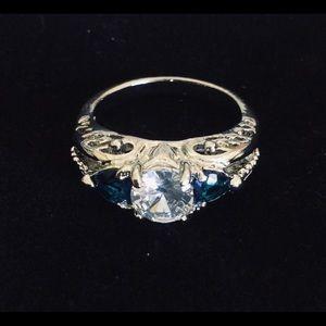 White Topaz, Blue Sapphires Sterling Silver Ring,6
